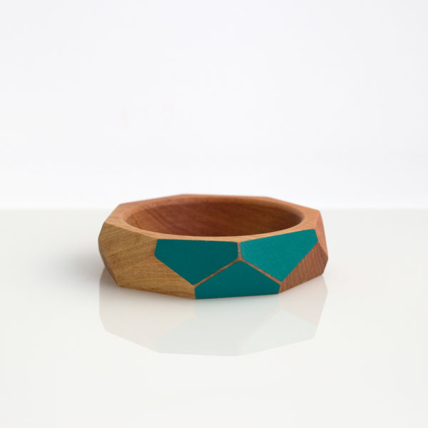 Faceted bangle medium dark turquoise