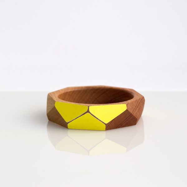 Faceted bangle medium yellow