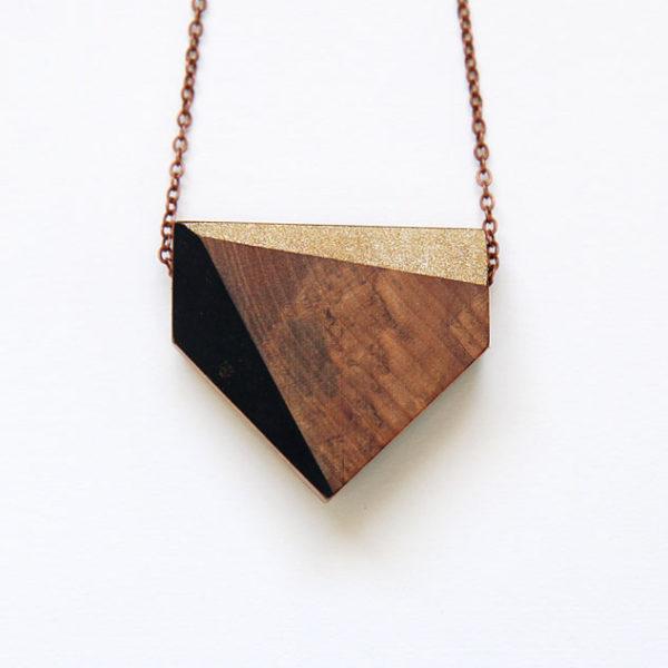 Chevron necklace — black + gold