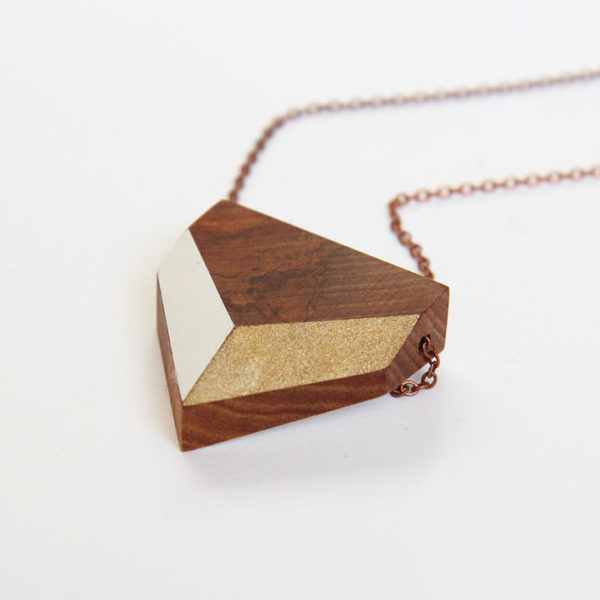 Chevron necklace — white + gold