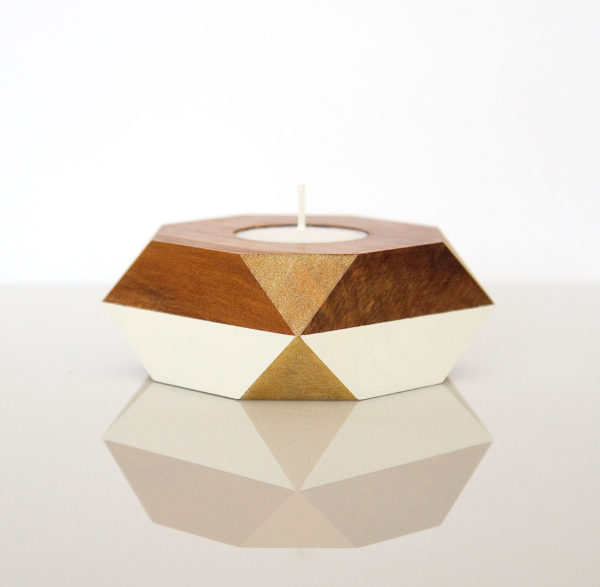 tealight holder gold corners