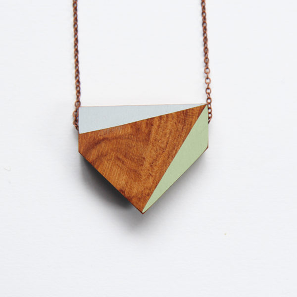 chevron necklace — green and grey
