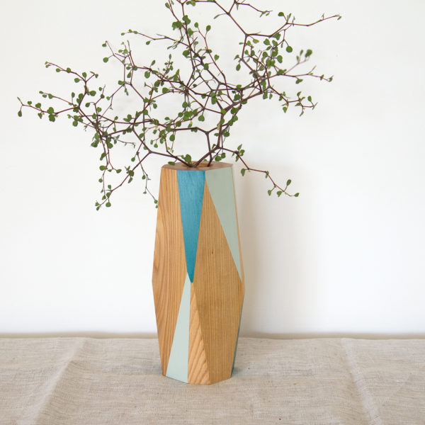 pale green and dark turquoise vase large