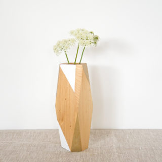 white and gold vase large