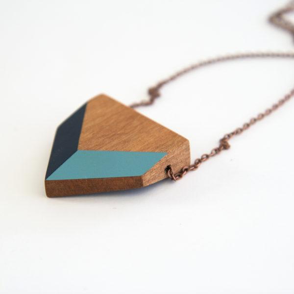 Chevron necklace blues