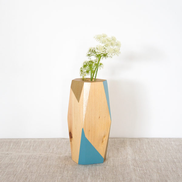blue and gold vase small