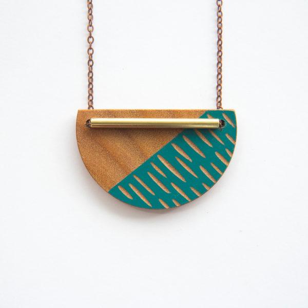 Dark turquoise, Crescent Necklace