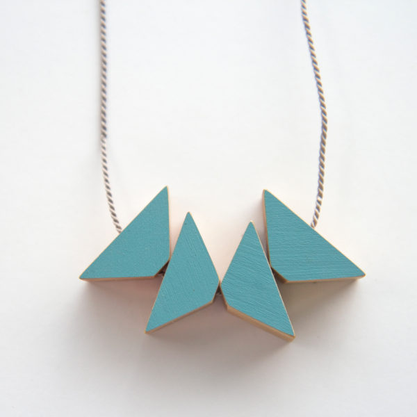 Grey blue triangles necklace