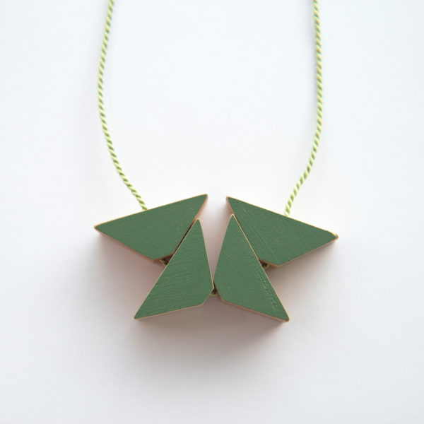 Sage triangles necklace