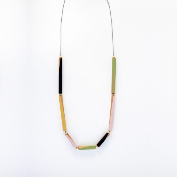 Wooden Rod Necklace Multi Coloured
