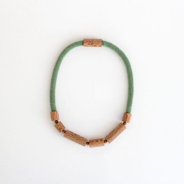 Rewarewa cylinder necklace eucalyptus green