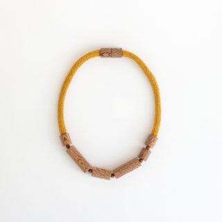 Rewarewa cylinder necklace mustard