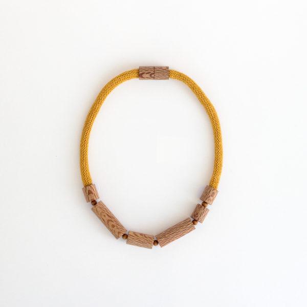 Rewarewa cylinder necklace mustard