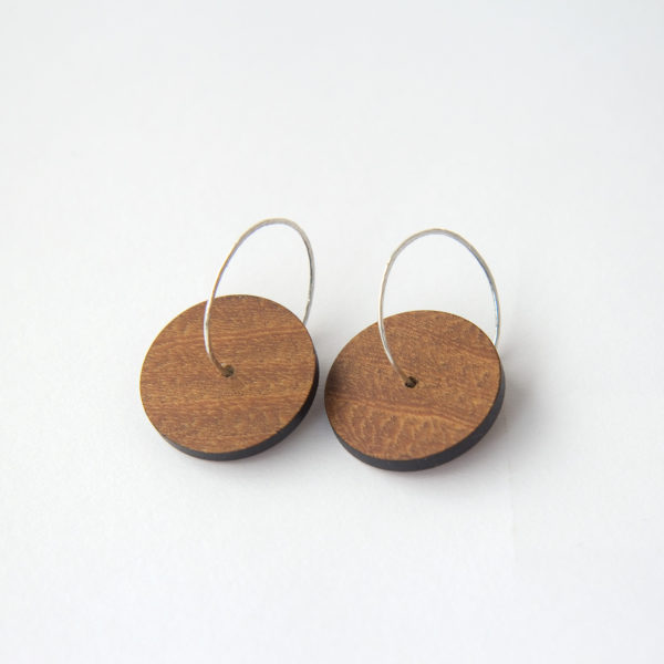 Wooden Hoop Earrings Black