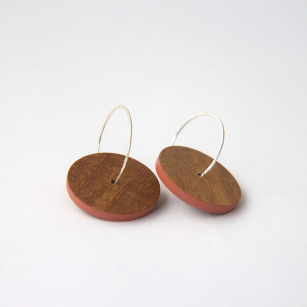 Wooden Hoop Earrings Terracotta