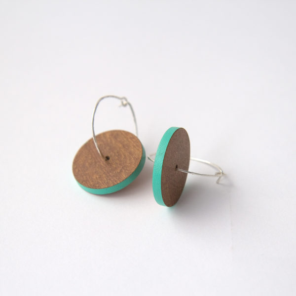 Wooden Hoop Earrings Turquoise
