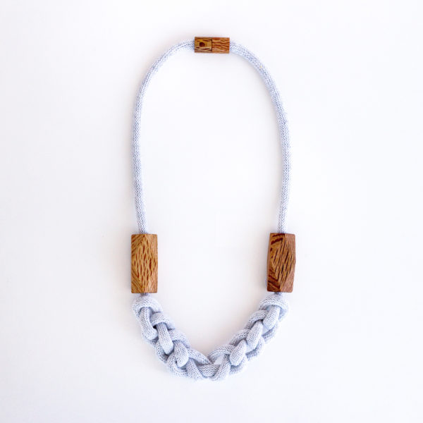 Knitted Necklace Pale Grey