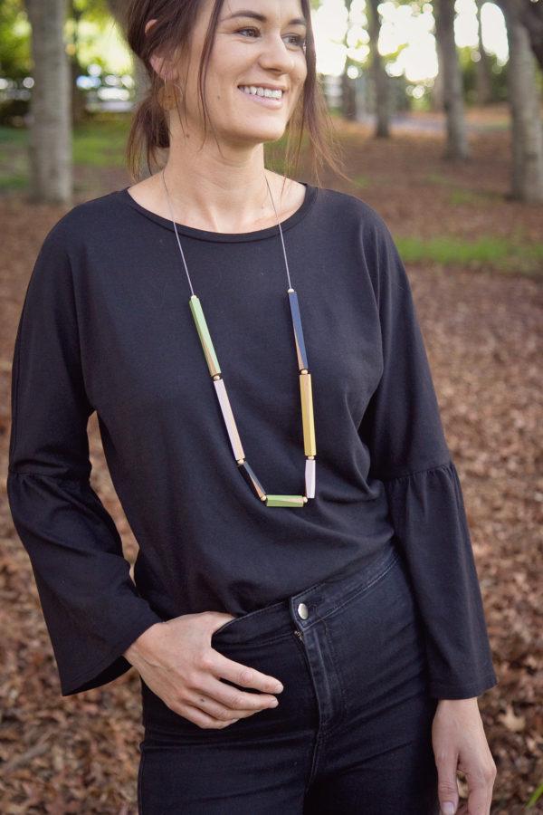 Wooden Rods Necklace Multi Colour