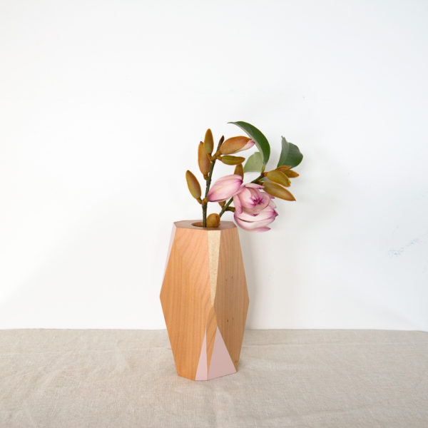 Blush and gold vase small