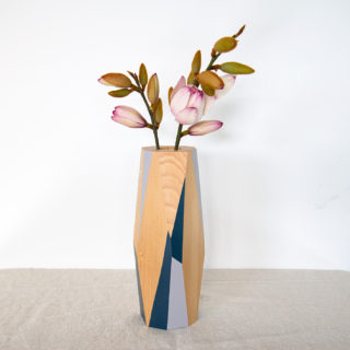 Pale grey and dark navy vase large